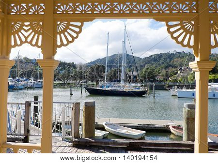 Whangarei marina and town basin viewed from a heritage building by the waterfront. Northland New Zealand NZ.