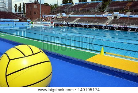Budapest, Hungary - Jul 13, 2014. The historic swimming pool is ready for the start. The Waterpolo European Championship was held in Alfred Hajos Swimming Centre in 2014.