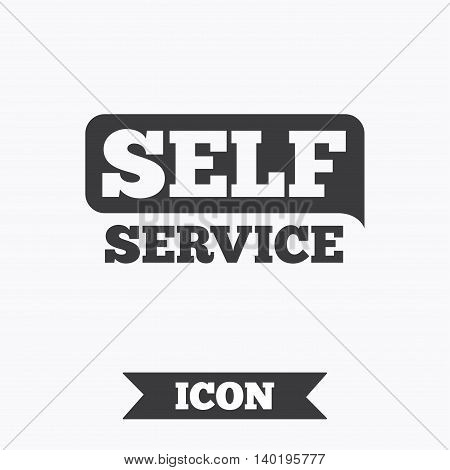 Self service sign icon. Maintenance button. Graphic design element. Flat self service symbol on white background. Vector