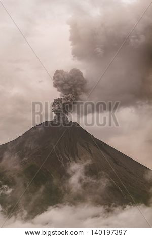 Tungurahua Volcano Surrounded In Clouds Full Of Ash And Smoke February 2016 Ecuador