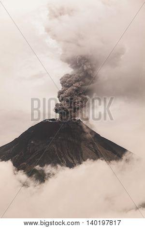 Powerful Explosion Of Tungurahua At Sunset February 2016 Ecuador