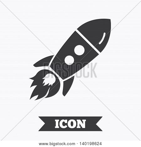 Start up icon. Startup business rocket sign. Graphic design element. Flat startup symbol on white background. Vector