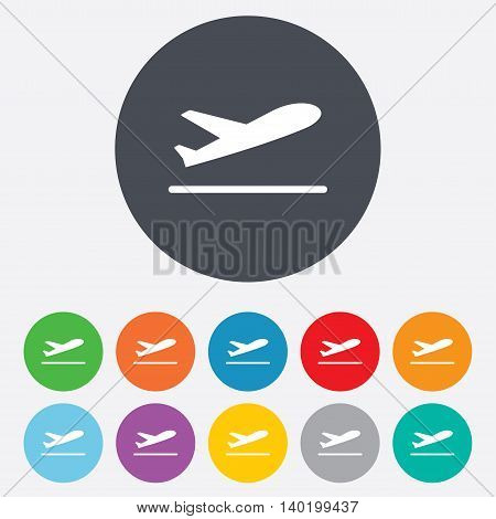 Plane takeoff icon. Airplane transport symbol. Round colourful 11 buttons. Vector