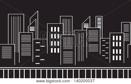 Collection stock vector city silhouettes black white