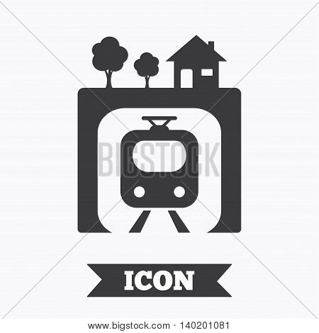 Underground sign icon. Metro train symbol. Graphic design element. Flat underground metro symbol on white background. Vector
