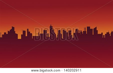 Big urban scenery silhouettes stock vector illustration