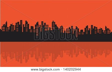 Stock vector illustration urban silhouettes on orange backgrounds
