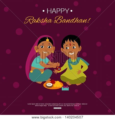 Little happy brother and sister celebrating Raksha Bandhan tying rakhi. Indian traditional holiday background. Vector eps 10 format.