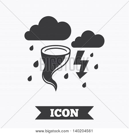 Storm bad weather sign icon. Clouds with thunderstorm. Gale hurricane symbol. Destruction and disaster from wind. Insurance symbol. Graphic design element. Flat hurricane symbol on white background. Vector