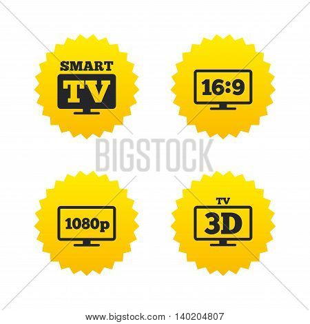 Smart TV mode icon. Aspect ratio 16:9 widescreen symbol. Full hd 1080p resolution. 3D Television sign. Yellow stars labels with flat icons. Vector