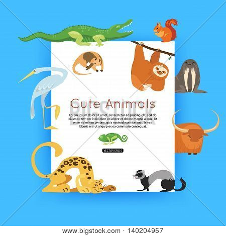 Wildlife background. Zoo animals banner for advertising, online tour. Vector eps 10 format.