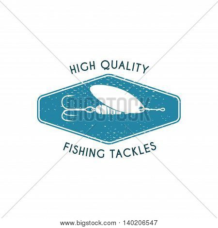 Logo of fishing tackles shop. Vector template. Symbol of spinner isolated on the white background.