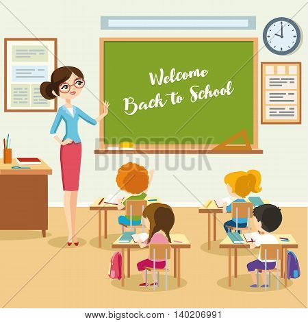 School lesson, students listen teacher in the classroom, children sit at a desk and look at the chalkboard. Vector eps 10 format.