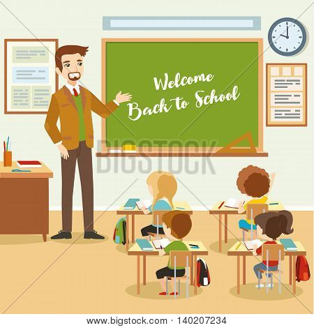 Male teacher with pupils in the classroom. Educational process, school lesson. Vector eps 10 format.