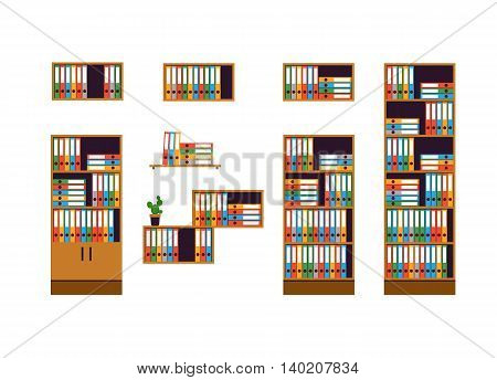 Set of office furniture. Cabinets and shelves for storage of documents isolated on white background. Colorful folders are in order. Flat style. Vector