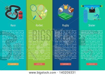 Sport and Awards Vertical Banner Concept   Set of great vertical banner flat design illustration concepts for sport, award, hobby, job, and much more. the set can be used for several purposes like: websites, print templates, presentation