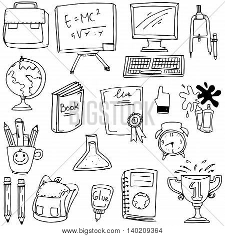 Hand draw element school doodles stock vector