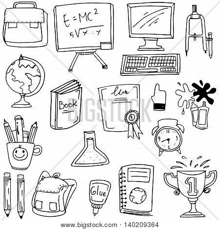 Hand draw element school doodles stock vector