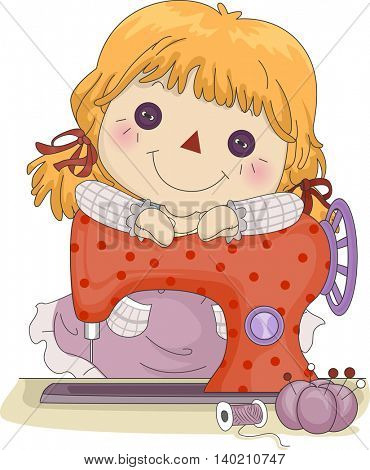 Illustration of a Female Rag Doll Leaning Against a Sewing Machine