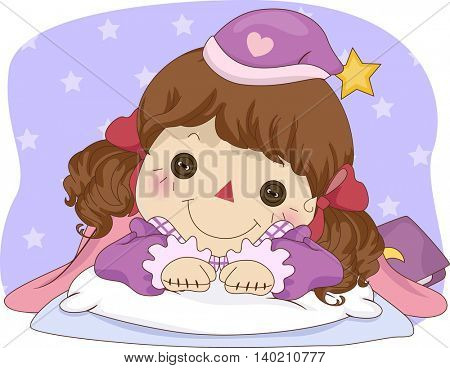 Illustration of a Female Rag Doll in Pajamas Lying in Bed