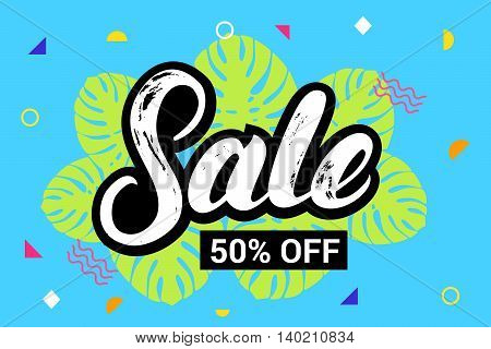 Sale 50 persent off hand written lettering on colorful summer background. Brush texture. Modern pattern. Summer sale banner. Vector illustration.