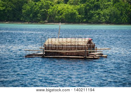 Small Wood Floating Fishing Platform In Sulawesi Indonesia