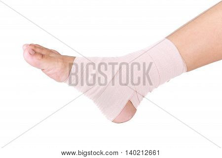 Ankle sprain.Ankle support with elastic bandage on white background
