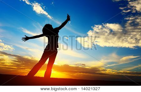 Young woman with raised hands standing on meadow on sunset