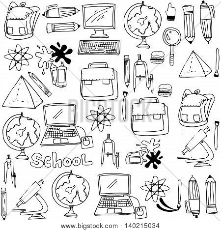 School supplies doodles collection stock vector illustration