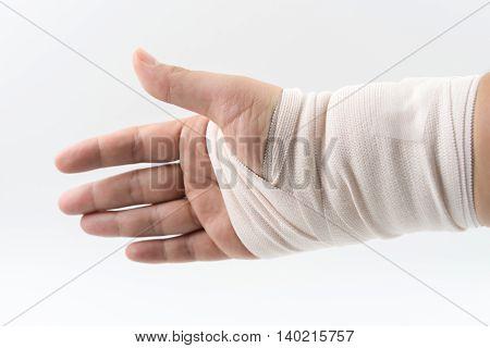 hand bone broken from accident with arm splint