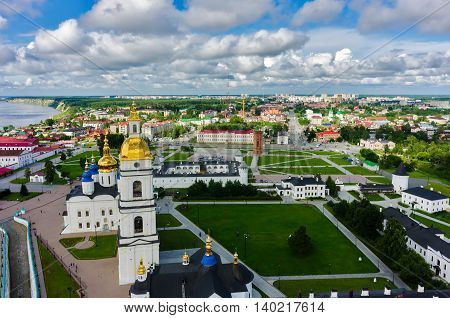 Tobolsk, Russia - July 15, 2016: Bird eye view onto Tobolsk Kremlin with St. Sophia-Assumption Cathedral and belltower in summer day. Tyumen region
