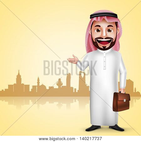 Saudi arab man vector character wearing thobe showing city landmark in silhouette of Saudi Arabia for travel and tourism. Vector illustration.