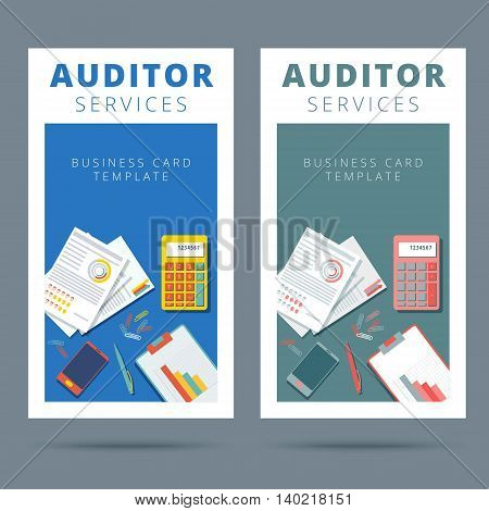 Audit and financial analysis vector business card concept. Accountant working proccess banner illustration