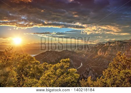 Beautiful summer landscape in the mountains in amazing sunset light, Canyon of Verdon, France, Europe. Shot on HDR