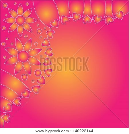 Pink and orange floral background with hearts