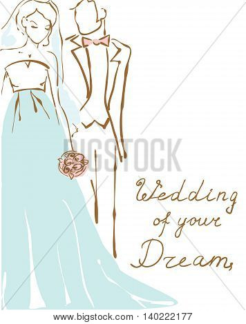 Silhouette of bride and groom. Wedding background for invitation. Hand drawing illustration
