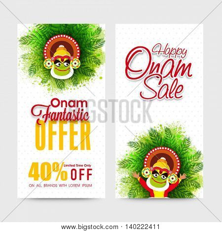 Happy Onam Sale and Discount Offers with 40% Off, Creative website banner set with illustration of Kathakali Dancer for South Indian Festival celebration.