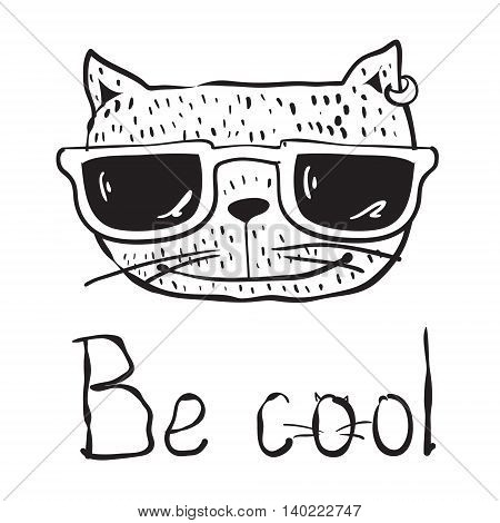 Hand drawn portrait avatar of Cool Cat with sunglasses. Vector isolated elements. Be cool.