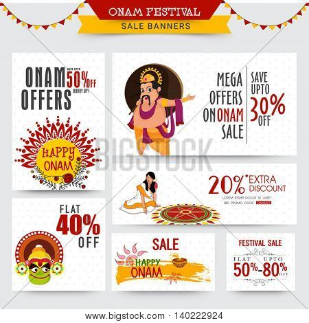 Creative Banner set of Sale with Mega Discount Offers for South Indian Festival, Happy Onam celebration. poster