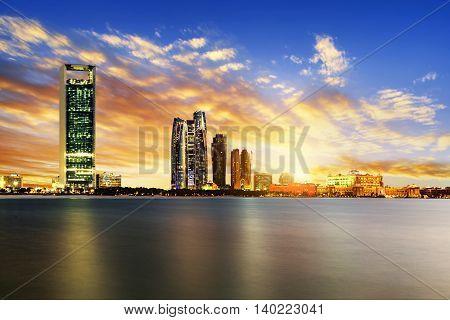 Panorama of Abu Dhabi at night capital of United Arab Emirates