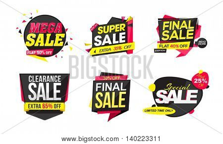 Set of Creative Stickers, Tags or Labels design of Sale and Discounts on white background.