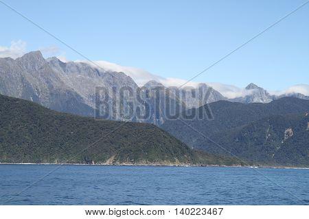 New Zealand Fjordland mountain panorama in sunshine 2