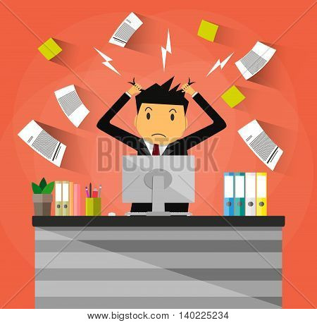 Stressed cartoon businessman in pile of office papers and documents tearing his hair out. Office workplace with pc monitor. Stress at work. Overworked. Vector illustration in flat design on red background.