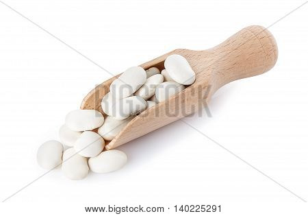 Butter beans or lima beans on wooden scoop isolated on white background. Dry white beans. Beans white kidney beans in a wooden spoon on a white background