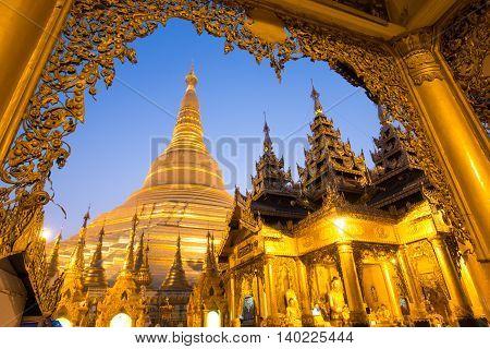 Beautiful Pagoda In The World. The Famous Pagoda In Myanmar. Night At Shwedagon Pagoda (shwedagon Pa