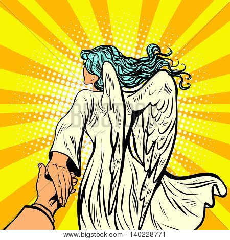 follow me, woman angel with wings. pop art retro comic book vector illustration. Religion and love