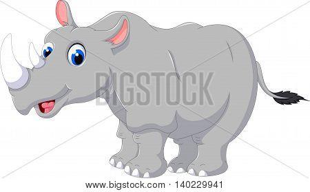 cute rhino cartoon posing for you design