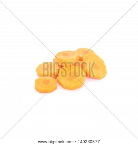 Closeup pile of fresh cut carrot isolated on white background prepare for cook concept with clipping path