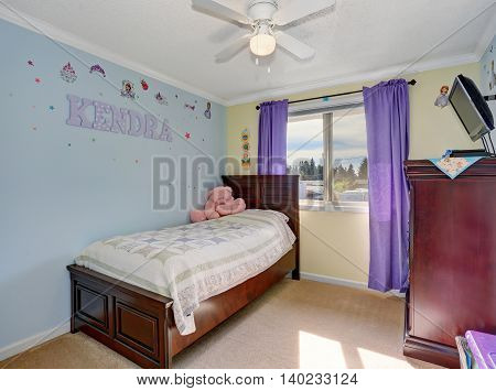 Lovely Kids Room, Furnished With Mahogany Furniture Set.