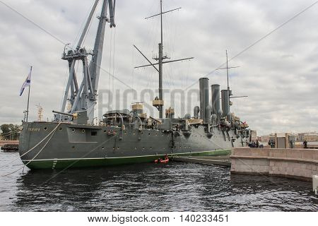 St. Petersburg, Russia - 16 July, Aft of the cruiser